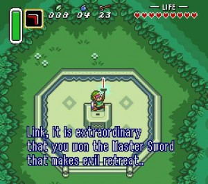 Link Pulls Master Sword - Link To The Past