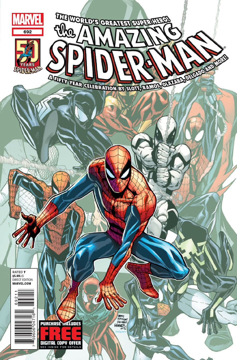 50th anniversary cover of Amazing Spider-Man issue 692