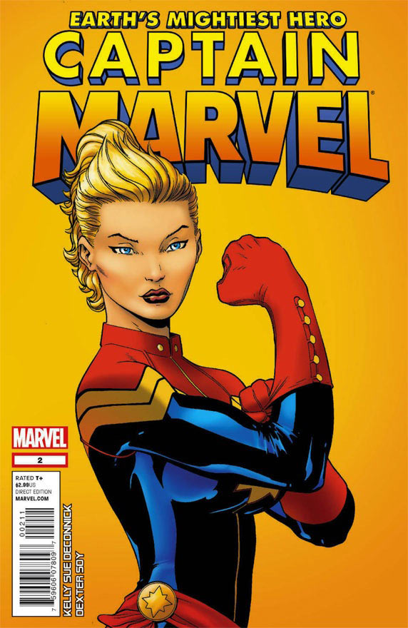 Cover to the second issue of the new Captain Marvel