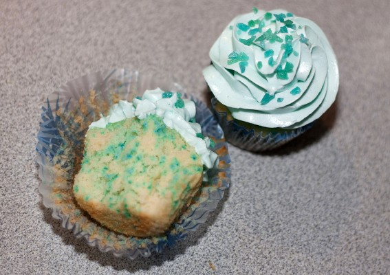 """Finished Blue """"Meth"""" Cupcakes"""