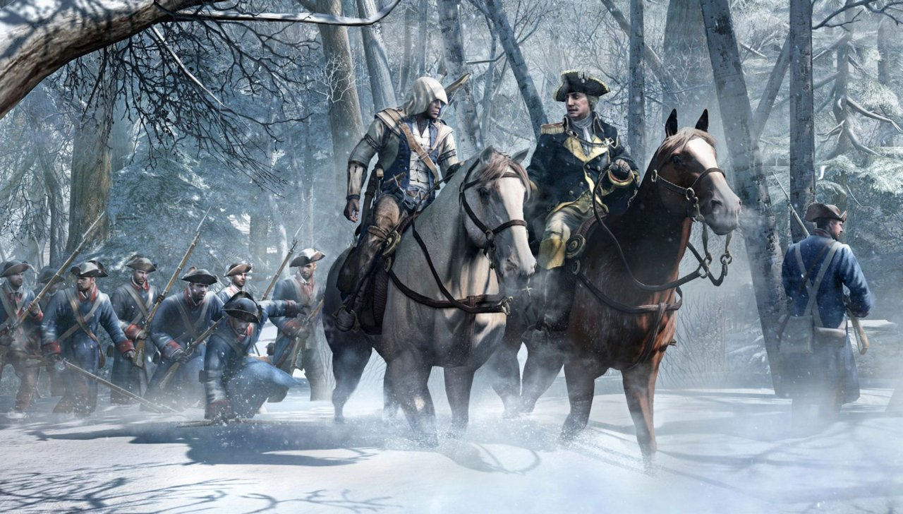 Connor and George Washington riding on horseback.