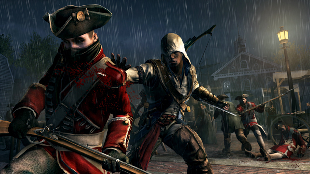 Connor stabbing a redcoat.