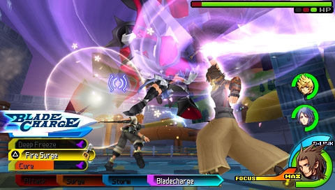 Terra, Ventus, and Aqua fight together in Kingdom Hearts Birth by Sleep