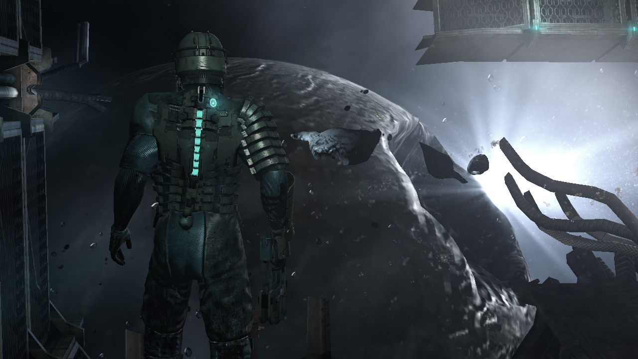 Isaac from Dead Space staring out into space