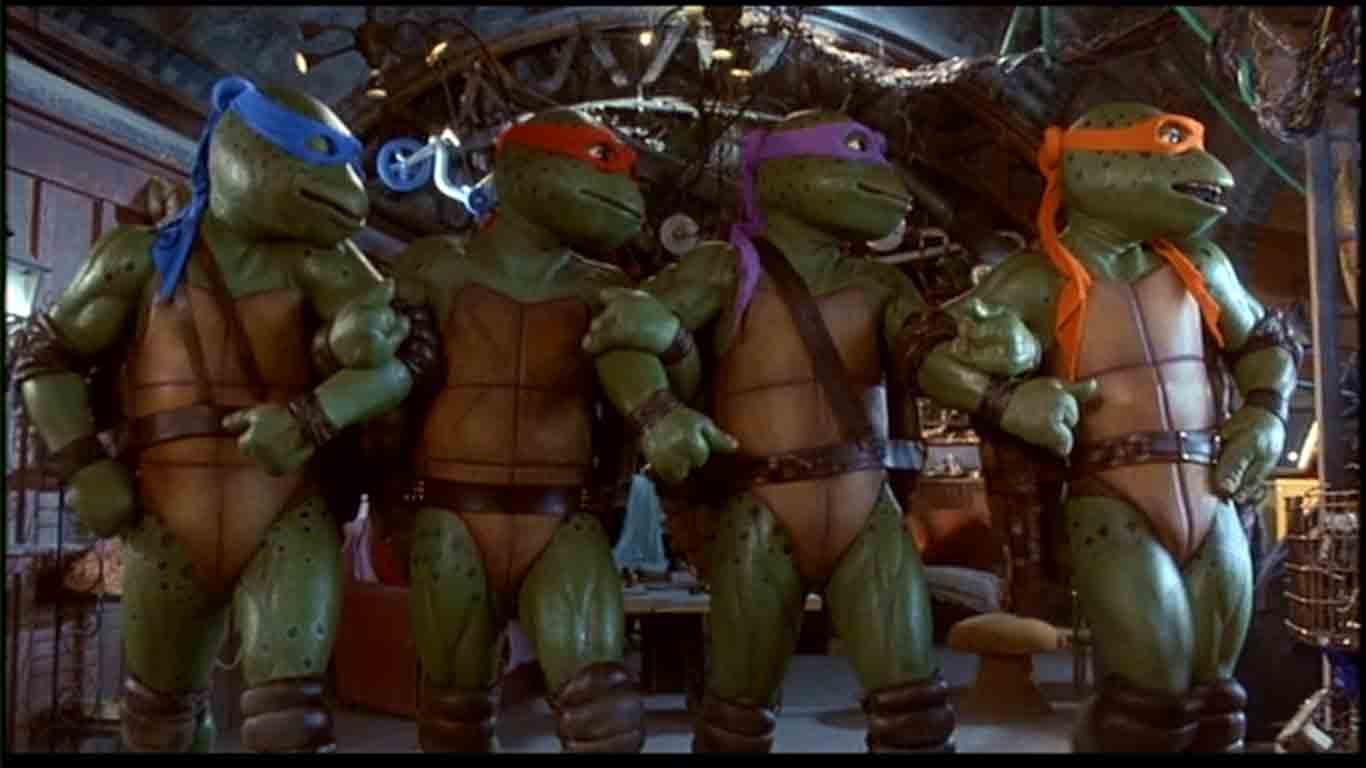 Leonardo, Donatello, Michelangelo, and Raphael dancing in the sewers.