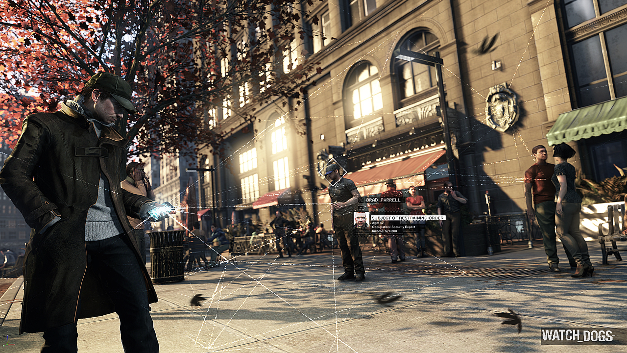 Alex Pearce using his cellphone to hack identities in Watch_Dogs