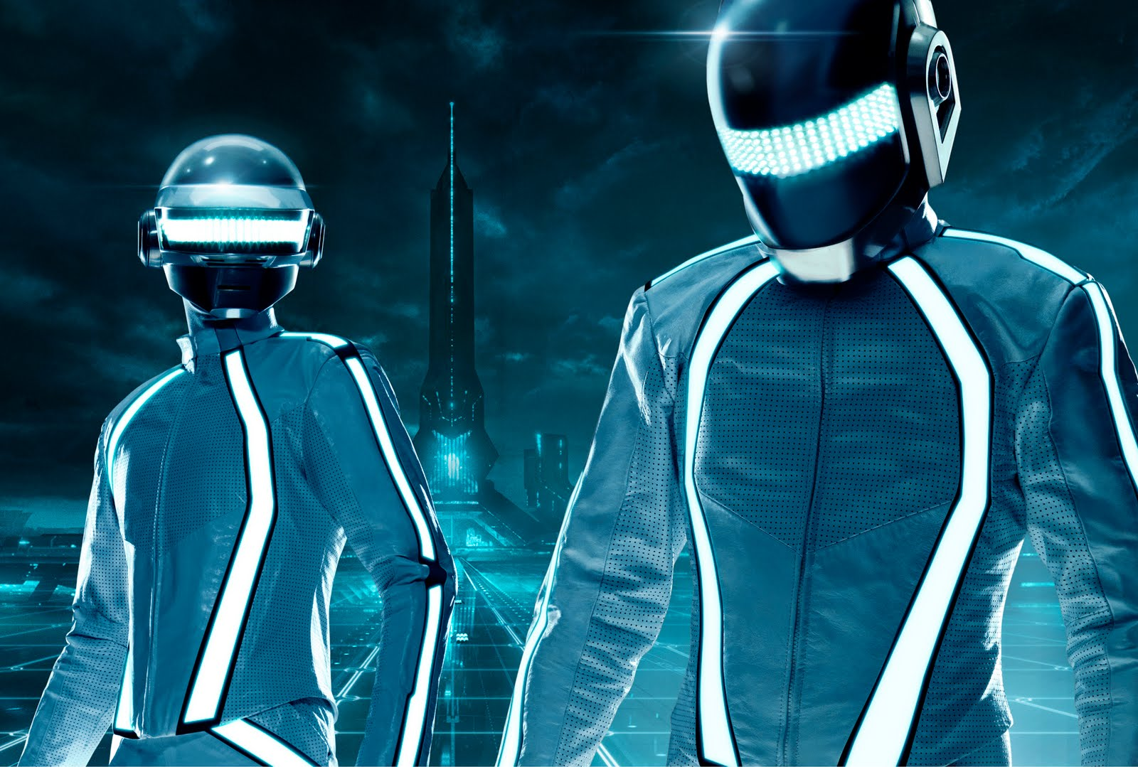 Daft Punk in Tron Legacy attire.