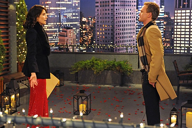 Robin and Barney on the rooftop in How I Met Your Mother