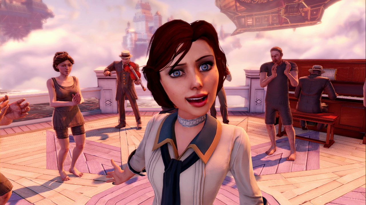 Elizabeth dancing on the beach in BioShock Infinite