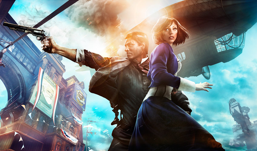 Booker and Elizabeth Art from the cover of BioShock Infininte
