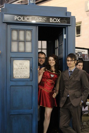 Our own Eric and Audra hanging out with The Doctor and the TARDIS