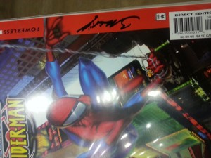 Ultimate Spider-Man #1 freshly signed by Mark Bagley for Eric. . . It's from a cell phone.