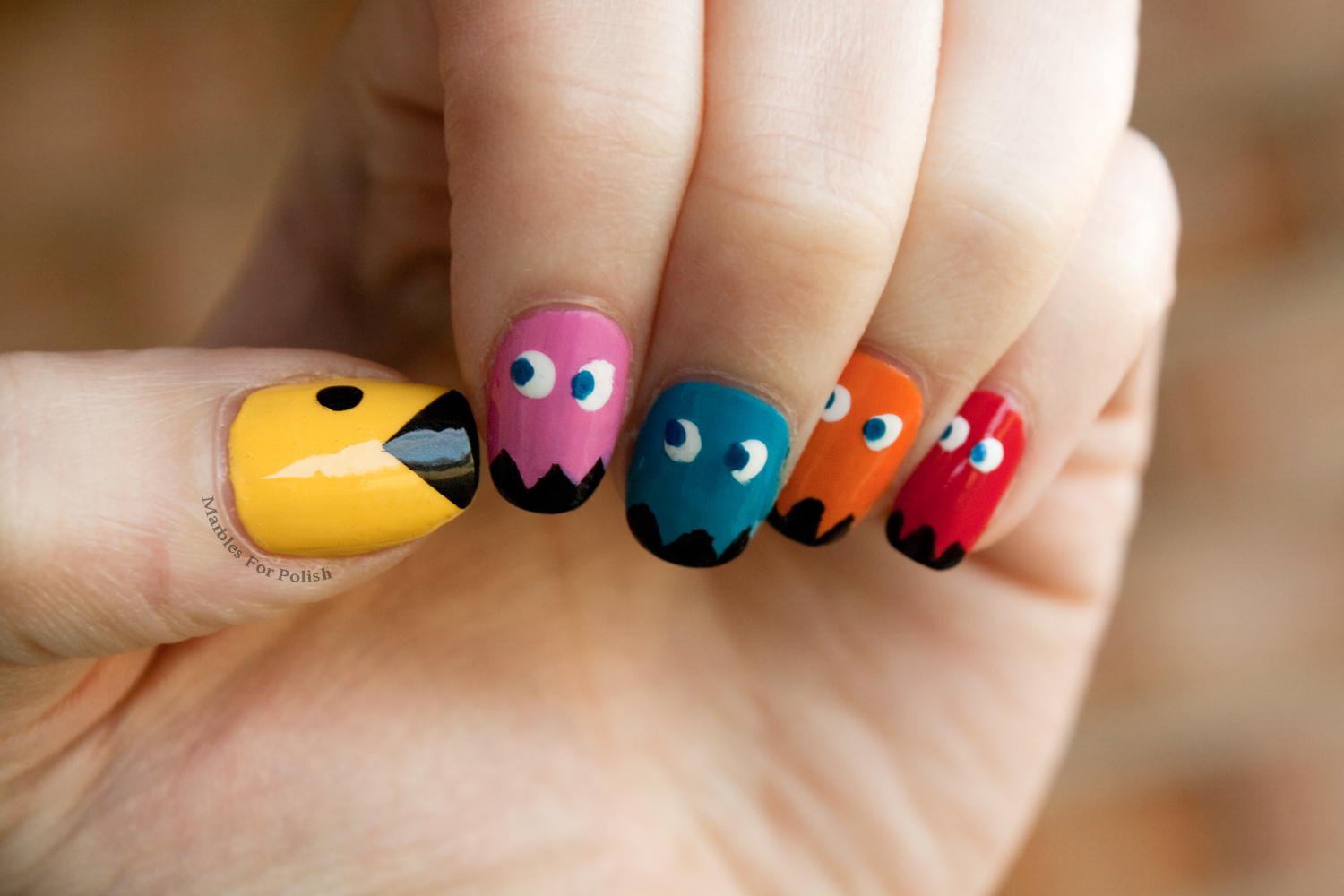 Nerd polish one quest pacman nail art prinsesfo Image collections