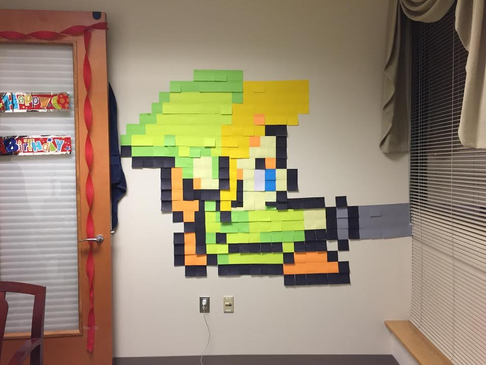 Semi-Homemade Zelda Triforce Cookies - Link Post-its Wall Art