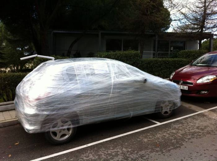 plastic wrapped car
